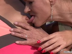 He finds his old mom toying young pussy outdoor Thumb