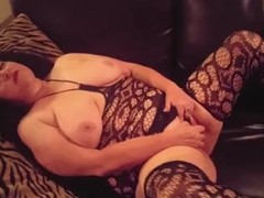 mommy talks dirty for son an plays in stockings an heels while he fingers h Thumb