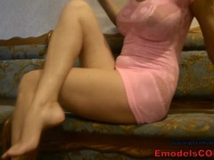 Hot wife milf in pink slutty short dress masturbation on real homemade tape Thumb