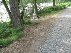 Kinky Maja - Cute Tight PAWG Rides BBC Dildo Out in Public Forest And Has a Squirming Shaking Orgasm Thumb